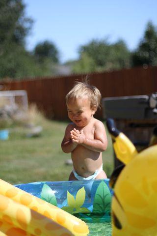 Knox by pool